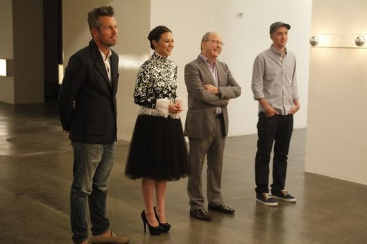"WORK OF ART: THE NEXT GREAT ARTIST -- ""The Big Show"" Episode 210 -- PIctured: (l-r) Bill Powers, China Chow, Jerry Saltz, KAWS -- Photo by: Heidi Gutman/Bravo"