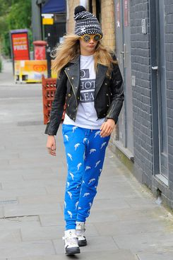 LONDON, ENGLAND - JUNE 16:  Cara Delevingne steps out in Notting Hill wearing a funky outfit on June 16, 2014 in London, England.  (Photo by Keith Hewitt/GC Images)