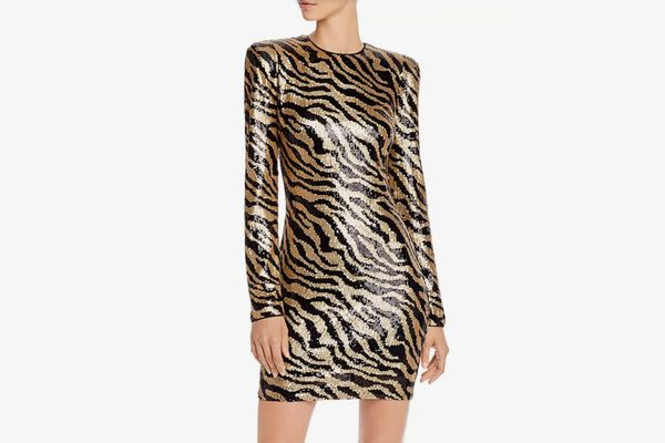 AQUA Luxe Zebra-Stripe Sequined Dress