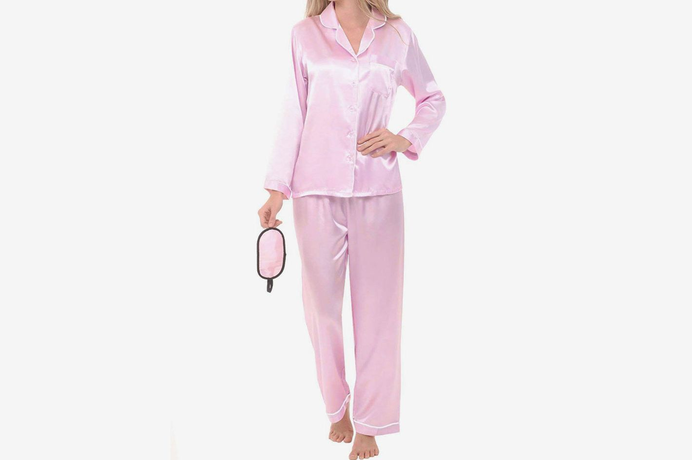 56d5a67720e7f Best satin pajamas with matching sleep mask. Alexander Del Rossa Women s  Solid Color Satin Pajamas