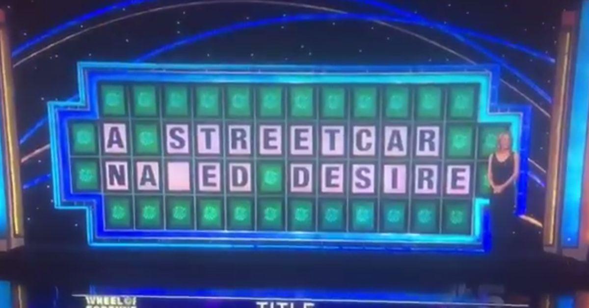 wheel of fortune contestant misspells streetcar named desire. Black Bedroom Furniture Sets. Home Design Ideas