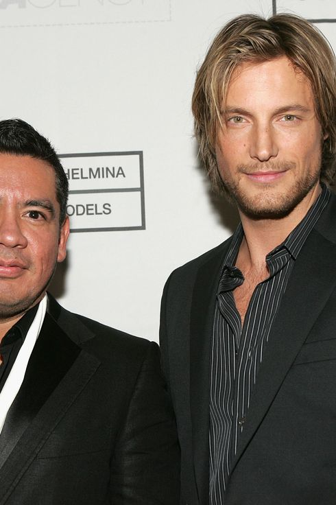 Model Gabriel Aubry (R) and Wilhelmina Models President Sean Patterson attend the Premiere & Launch Party for VH1's The Agency