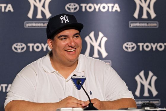 NEW YORK, NY - JULY 09:  New York Yankees fan Christian Lopez speaks to the media after catching a home run which was the 3000th hit of Derek Jeter career at Yankee Stadium on July 9, 2011 in the Bronx borough of New York City.  (Photo by Nick Laham/Getty Images)