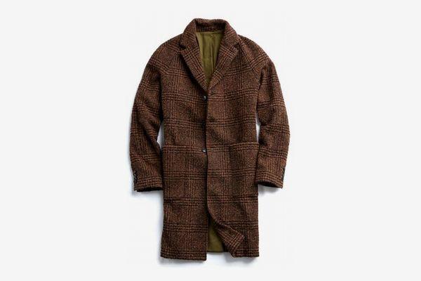 Italian Wool Boucle Glen Plaid Topcoat in Brown