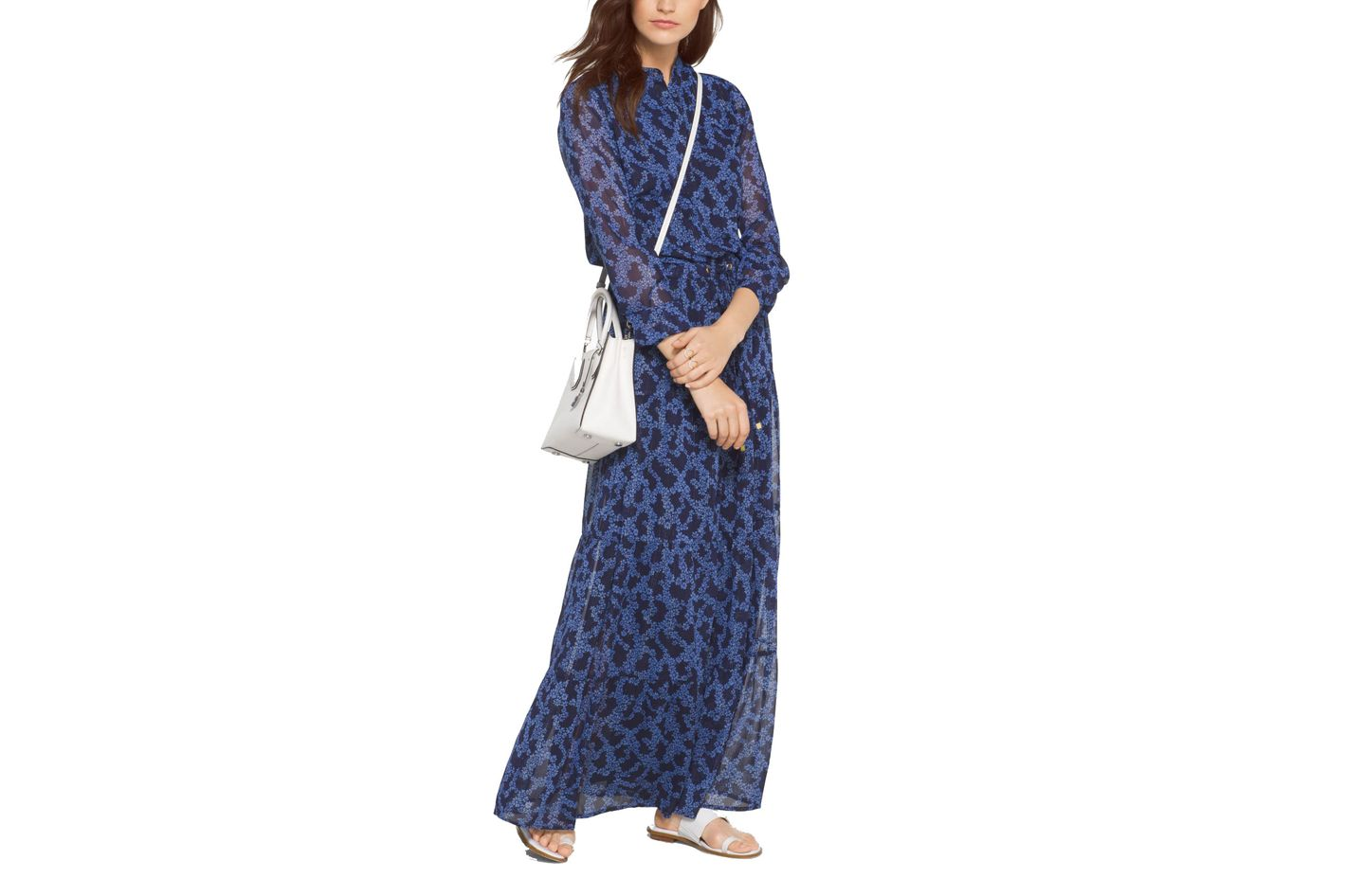Michael by Michael Kors Botanical Chiffon Maxi Dress