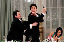 """The Best Man"" -- Punchy (Chris Romanski) tries to save Ted (Josh Radnor) from making a classic Mosby wedding toast, on the seventh season premiere of HOW I MET YOUR MOTHER, Monday, Sept. 19 (8:00-8:30 PM, ET/PT) on the CBS Television Network.            Photo: Cliff Lipson/CBS           ©2011 CBS Broadcasting Inc. All Rights Reserved."