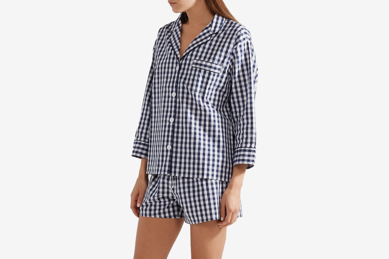 Sleepy Jones Marina Gingham Cotton Pajama Shirt
