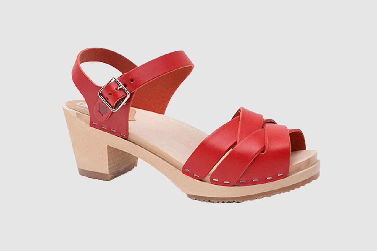 Sandgrens Swedish High Heel Wood Clog Sandals