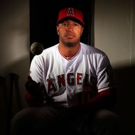 Vernon Wells #10 poses during the Los Angeles Angels of Anaheim Photo Day on February 21, 2013 in Tempe, Arizona.