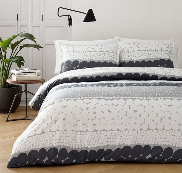 Marimekko Jurmo Dark Shadow Gray Cotton 3-Pc. Full/Queen Duvet Cover Set