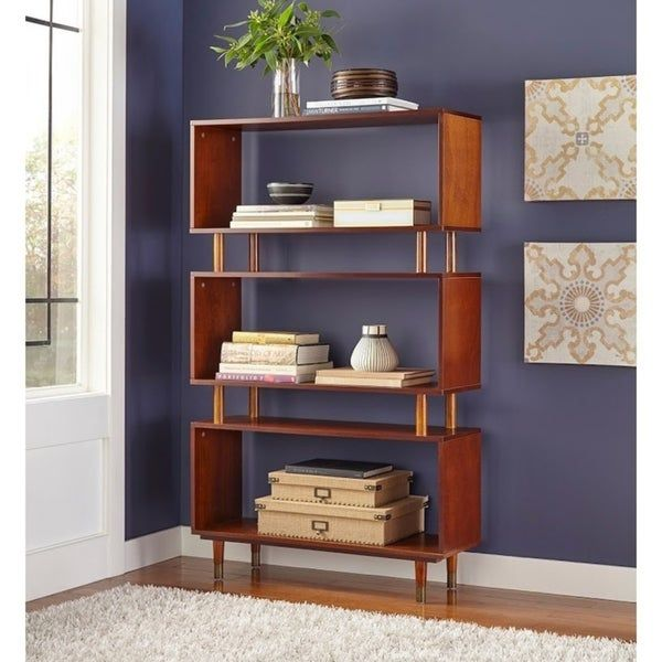 Simple Living Margo Mid-Century Three-Shelf Bookshelf