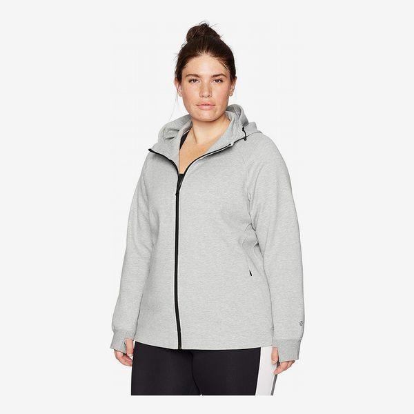Amazon Brand Core 10 Women's Motion Tech Fleece Fitted Full-Zip Hoodie Jacket in Light Heather Grey