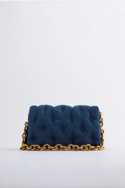 Zara Quilted Denim Shoulder Bag