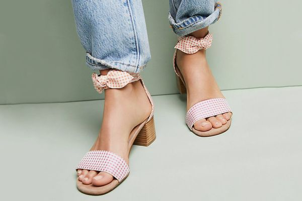Anthropologie Gingham Heeled Sandals