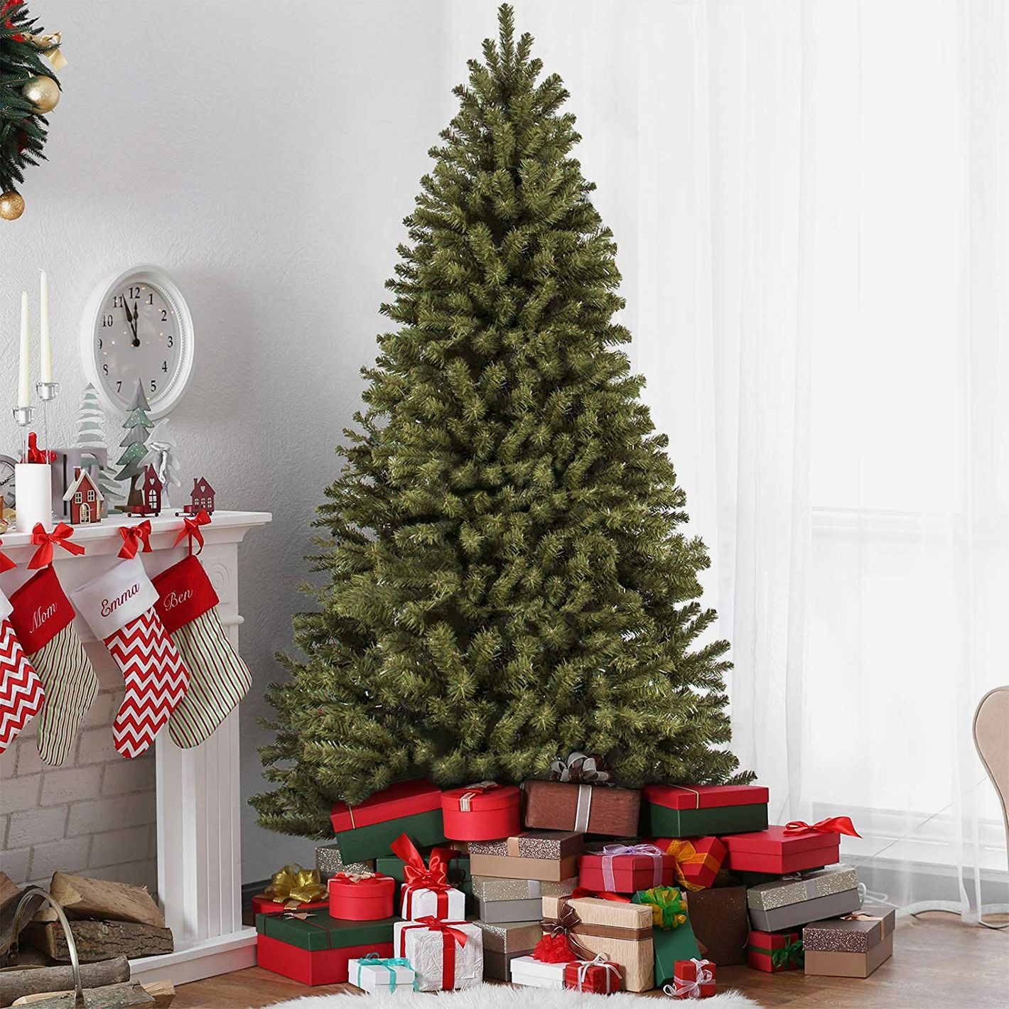 best choice products 75ft premium spruce hinged artificial christmas tree - Decorated Artificial Christmas Trees