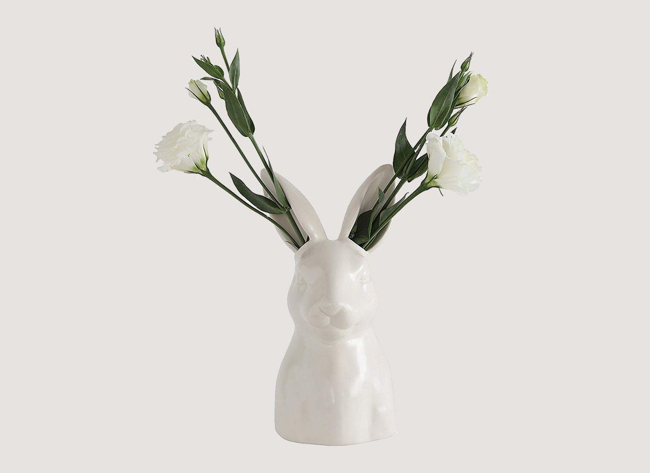 Creative Co-op  White Ceramic Rabbit Vase