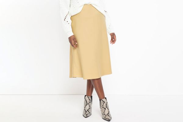 Eloquii Satin Midi Skirt