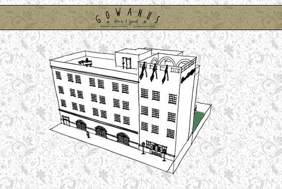 Four floors, 82 rooms. Gowanus.