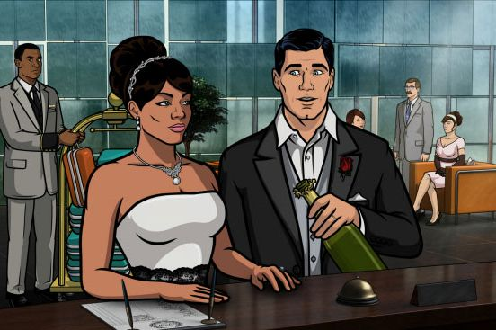 ARCHER: Episode 9, Season 4 The Honeymooners (airing March 14, 10:00 pm e/p). Archer and Lana pose as newlyweds to  stop a sale of enriched uranium. Pictured: (L-R) Lana Kane (voice of Aisha Tyler), Sterling Archer (voice of H. Jon Benjamin).