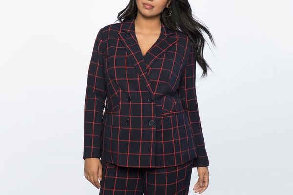 Eloquii Double Breasted Windowpane Blazer