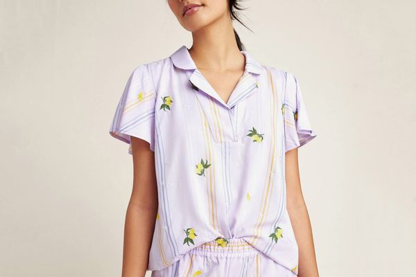Anthropologie Lemon-Embroidered Sleep Top