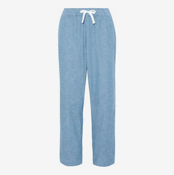 Cotton-Chambray Pajama Pants - strategist best light blue cotton draw string cotton pajama pants