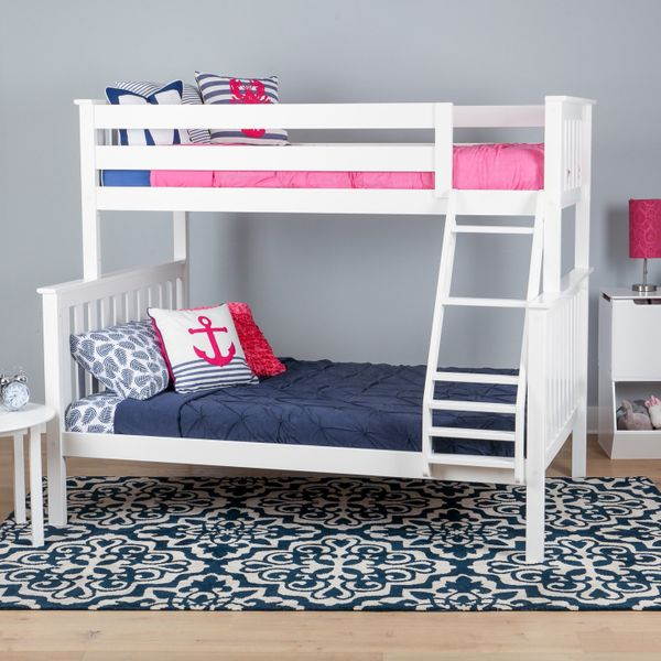 Max & Lily Solid-Wood Twin-Over-Full Bunk Bed, White