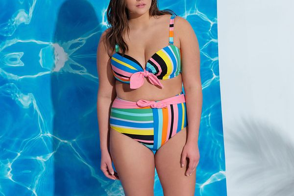 Eloquii Tie Front Stripe Bikini Top