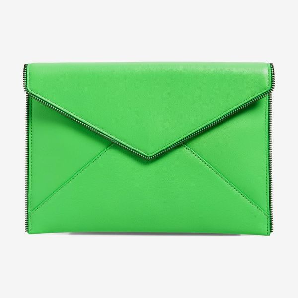 A Rebecca Minkoff Leo envelope leather clutch in vibrant green with zipper accents. 33 Things on Sale You'll Actually Want to Buy: From Adidas to Le Creuset - The Strategist