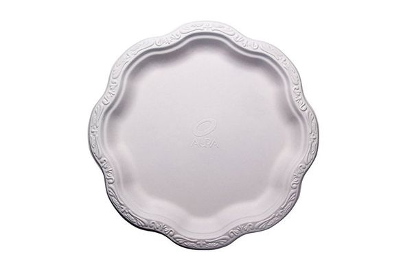 10-Inch Disposable Floral Large Premium White Plates Acanthus Collection