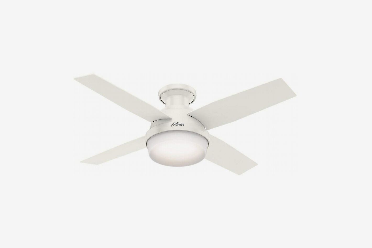 hunter fans 59244 dempsey low profile ceiling fan with light and remote,  white, 42