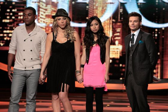 AMERICAN IDOL: The Bottom 3: L-R: Josh Ledet, Elise Testone and Jessica Sanchez. Also pictured: Ryan Seacrest (R). CR: Carin Baer / FOX.