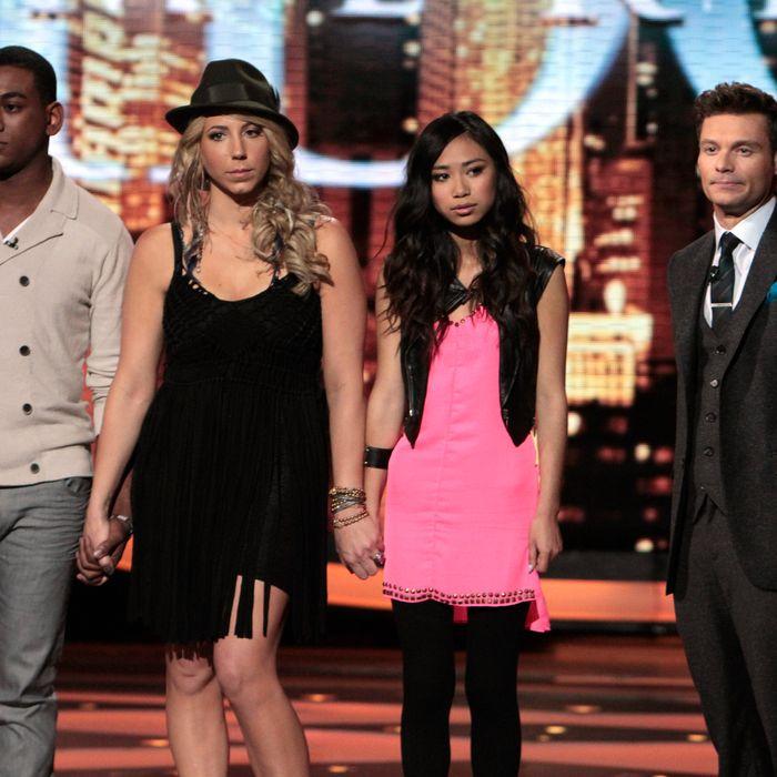 AMERICAN IDOL: The Bottom 3: L-R: Josh Ledet, Elise Testone and Jessica Sanchez. Also pictured: Ryan Seacrest (R).