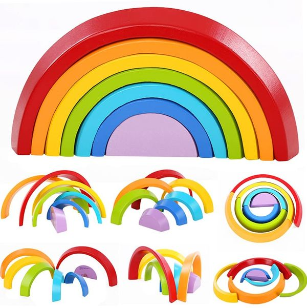 Lewo Wooden Rainbow Stacking Game