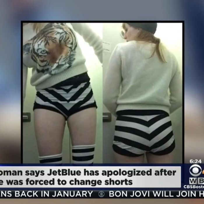 Maggie McMuffin wearing the outfit that got her turned away from a JetBlue plane.