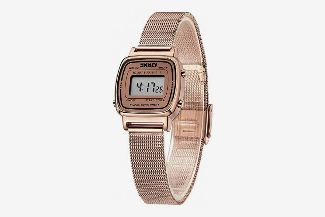 Women's Digital Watch Stainless Steel Waterproof Square Wristwatch