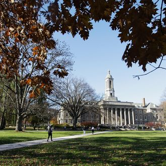 The Penn State University campus is seen on November 8, 2011 in University Park, Pennsylvania. Amid allegations that former assistant Jerry Sandusky was involved with child sex abuse, Joe Paterno's weekly news conference was canceled about an hour before it was scheduled to occur. (Photo by Rob Carr/Getty Images)