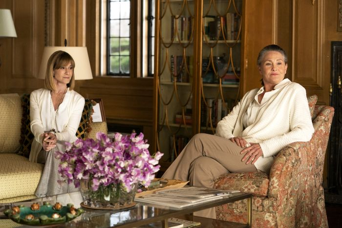 Holly Hunter as Rhea and Cherry Jones as Nan in Succession.