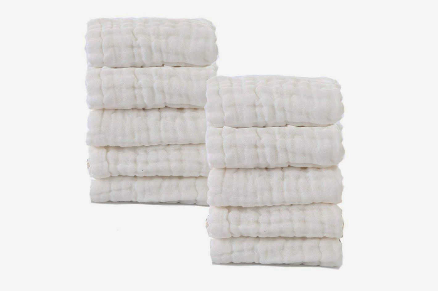 Mukin 100% Muslin Organic Cotton Baby Washcloths