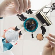 Lowe angle view of dentist using microscope