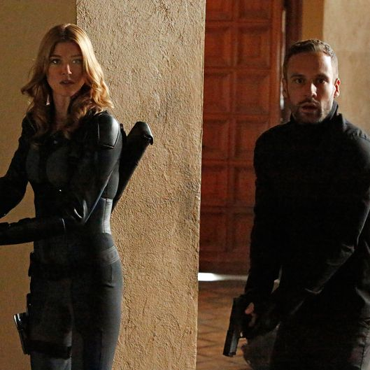"MARVEL'S AGENTS OF S.H.I.E.L.D. - ""What They Become"" - Coulson and Whitehall's forces meet in an explosive confrontation that dramatically alters everyone's fates. Meanwhile, Skye discovers shocking secrets about her past, on the Winter finale of ""Marvel's Agents of S.H.I.E.L.D.,"" TUESDAY, DECEMBER 9 (9:00-10:00 p.m., ET) on the ABC Television Network. (ABC/Kelsey McNeal)ADRIANNE PALICKI, NICK BLOOD"