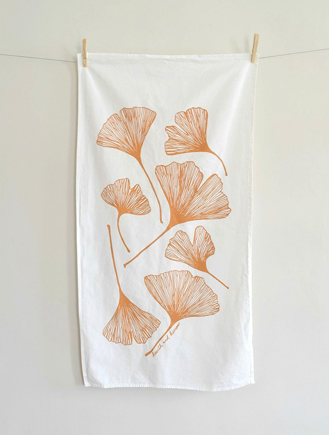 Ginko Leaf Flour Sack Tea Towel