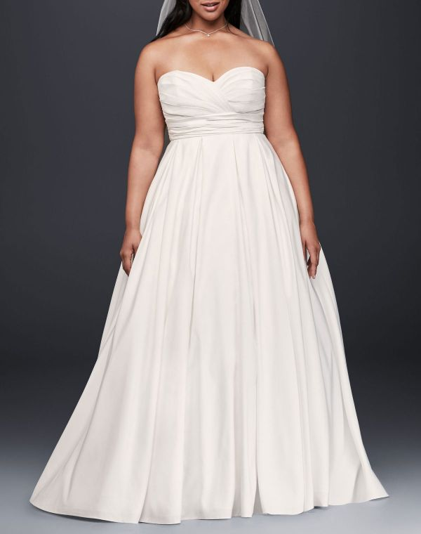 David's Bridal Collection Ruched Empire Waist Plus Size Wedding Dress