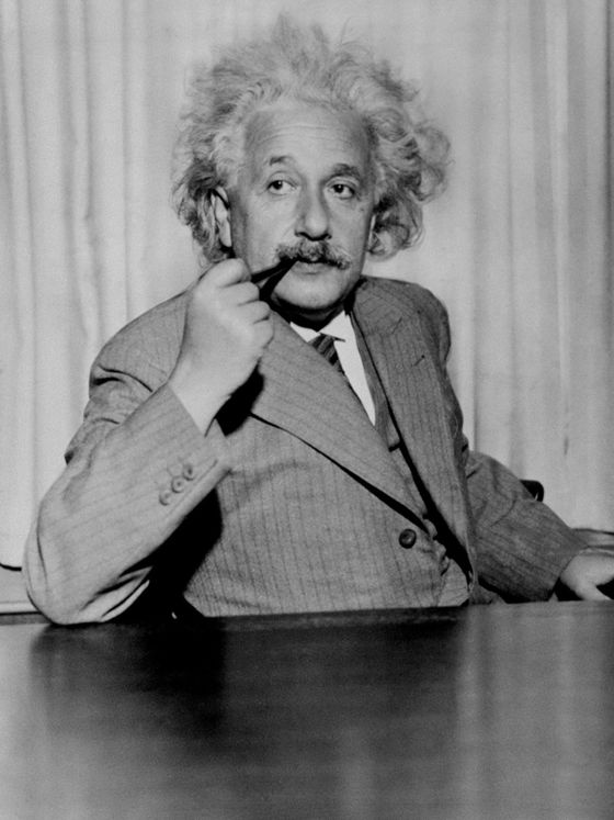 "The prototype of an absent-minded professor, Albert Einstein described himself as having a ""pale face, long hair, and a tiny start of a paunch… an awkward gait, and a cigar in the mouth."" Whether he intended to keep people at bay or couldn't be bothered with a comb, Einstein's wild nimbus of white hair seems to manifest the frenzy of his active mind. And his endearingly unkempt mane has become as identifiable as his immortal formula, E=mc2 ."