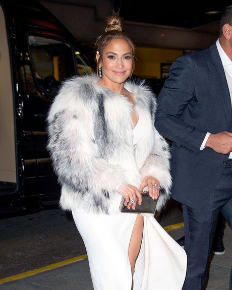Jennifer Lopez in a fur coat.