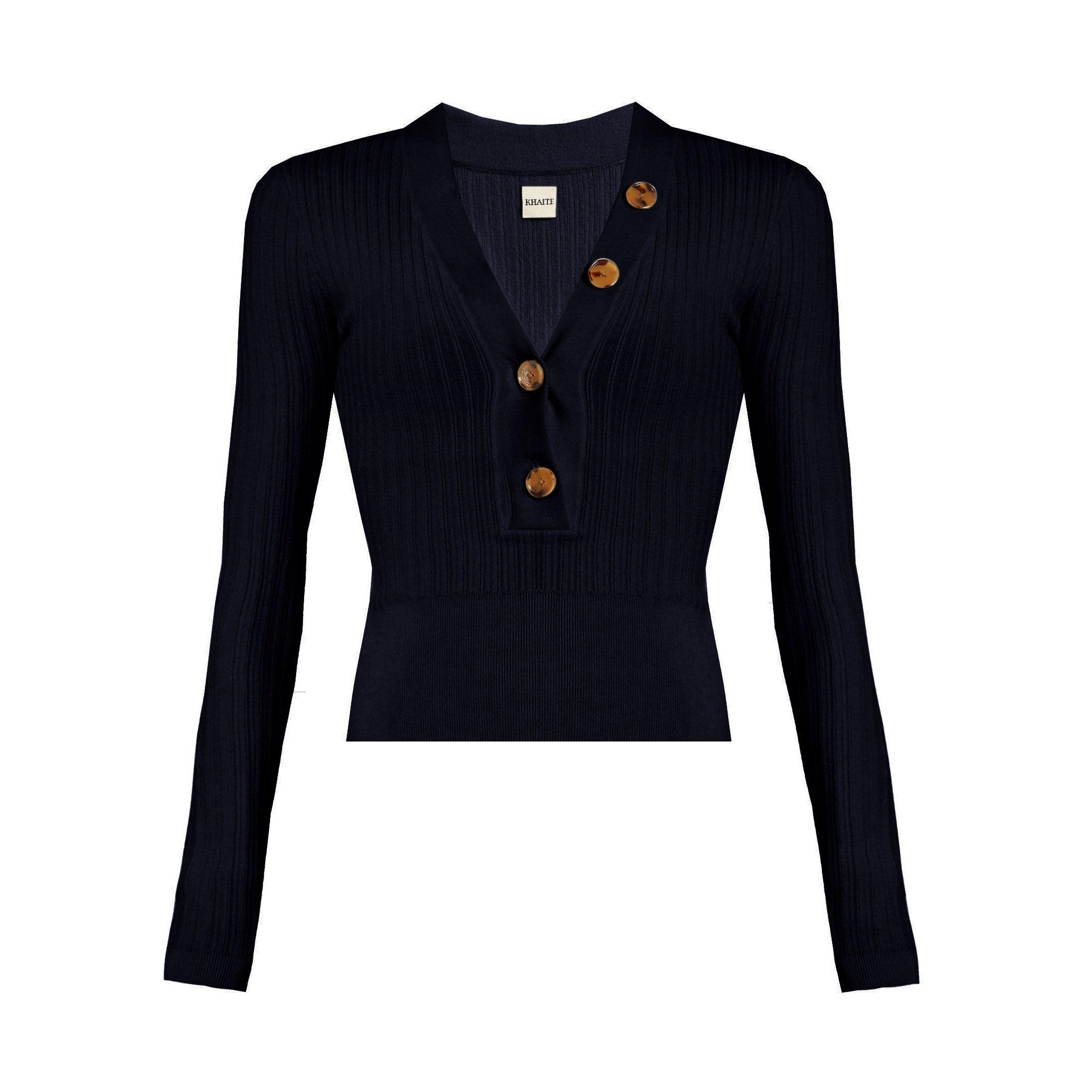 Khaite Gloria Button Neck Sweater