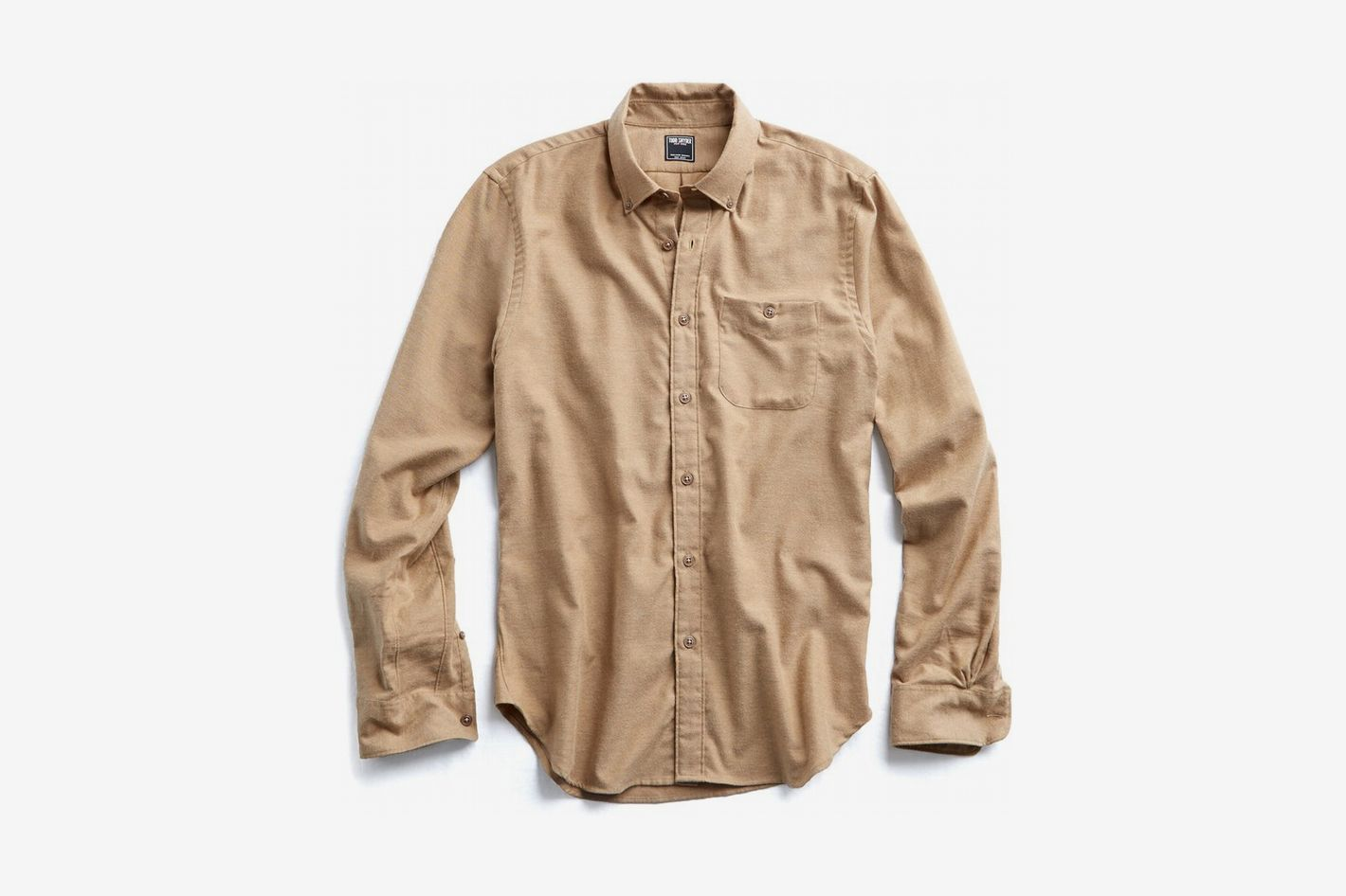 Brushed Cotton Cashmere Twill Shirt in Camel