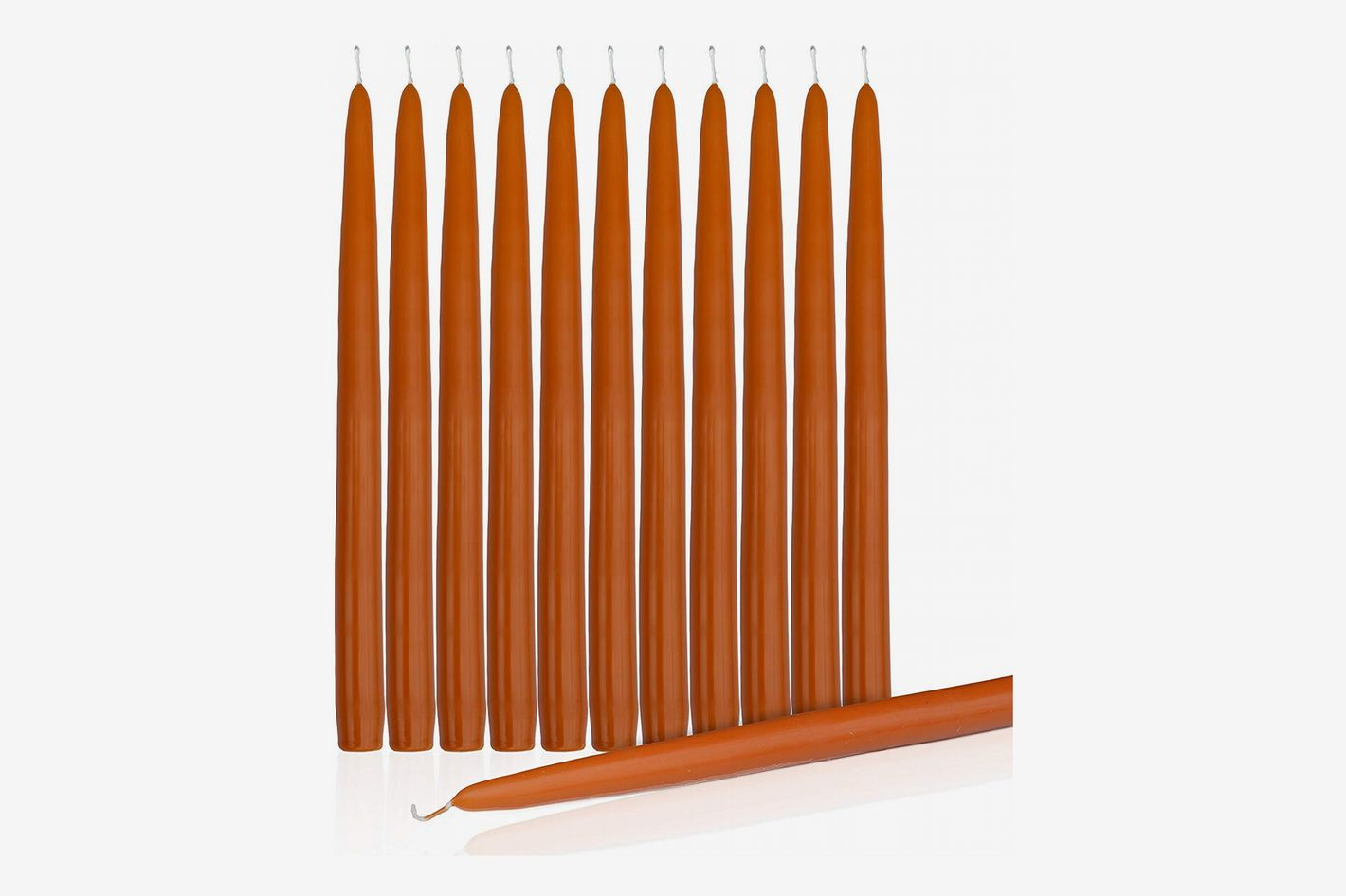 "Highlow Dripless Taper Candles 12"" Inch Tall Candle Set of 12 (Pumpkin Orange)"