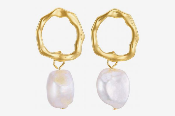 SENGUFENG Baroque Freshwater-Pearl Gold-Plated Simple-Drop Dangle Stud Earrings