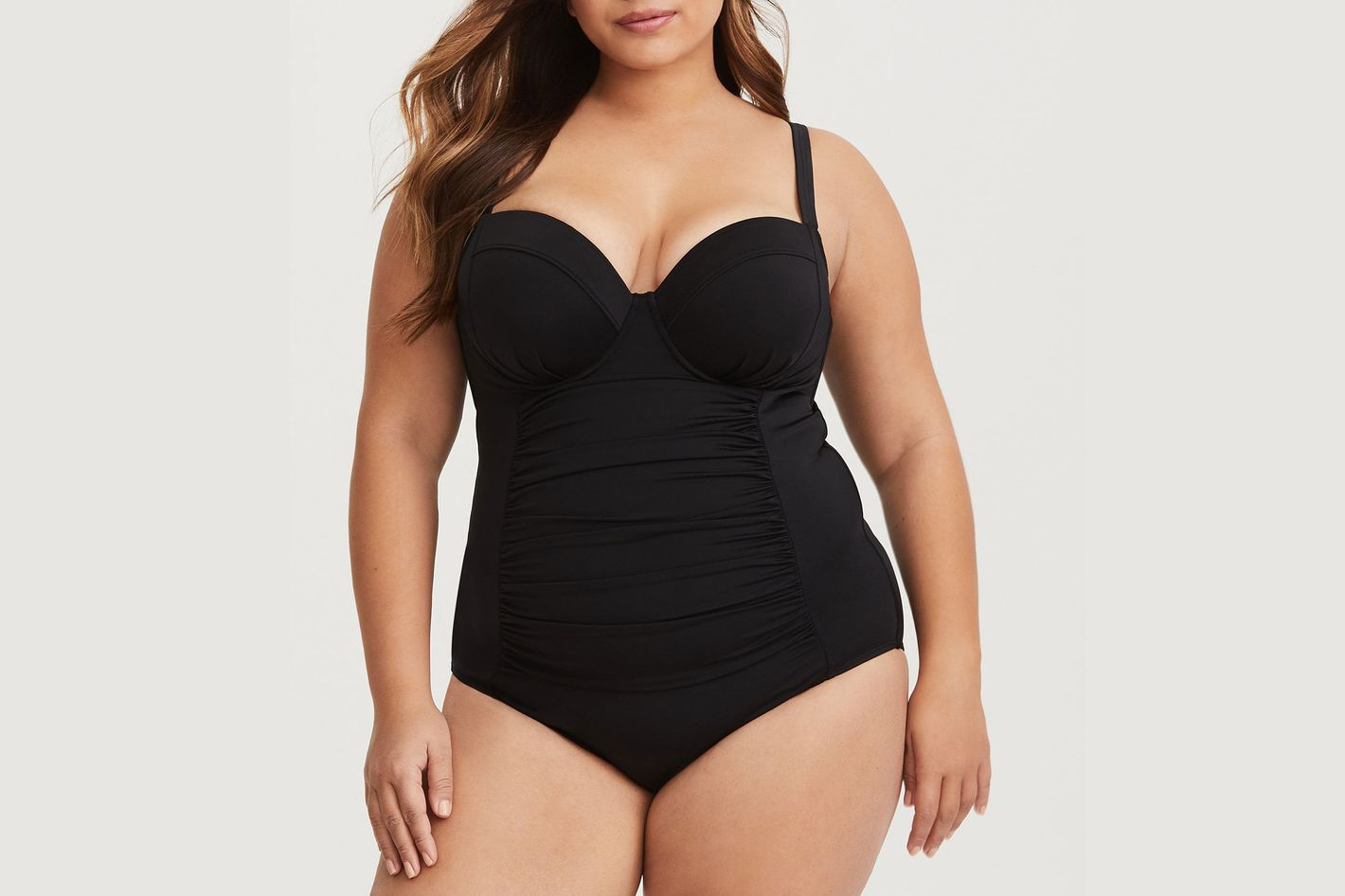 5bbaa7fa65128 For Plus-Size Women. Ruched Demi One-Piece